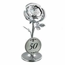 50th Birthday Gift - Crystocraft Celebration Rose with engraving SP125