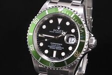 $9000 ROLEX SUBMARINER 50TH ANNIVERSARY 16610LV GREEN BEZEL BLACK DIAL WATCH