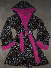 NWT Betsey Johnson Black/Brown/Pink LEOPARD Fleece Wrap Hoodie Robe S Pockets
