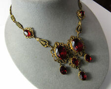 Vintage 1920s Victorian Festoon Enamel Glass Brass Czech Czechoslovakia Necklace