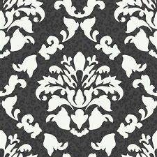 Big  Bold  Black & White Dramatic Damask with Leopard Print Wallpaper PW3935