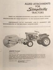 Simplicity Allis WARDS Lawn Garden Tractor Allied Implement Attachments Catalog