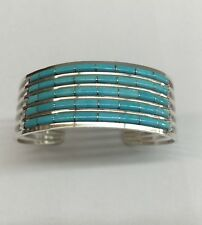 Native American Sterling Silver Zuni Turquoise Inlay Cuff Bracelet Anson Wallace