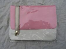 LACOSTE PARFUMS MAKE UP BAG PINK WHITE GOLD STRAP new / bagged