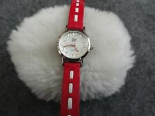 Faded Glory Quartz Ladies Watch with a Pretty Red and White Band