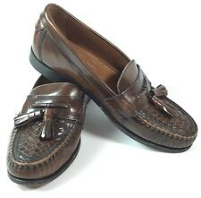 BASS Kiltie Tassel Men's Dress Shoes Loafers Woven Brown Leather Size 8D - NICE!