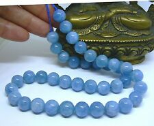 "AAA RARE NATURAL SKY BLUE AQUAMARINE ROUND BEADS 16"" STRAND 10mm 302ctw"