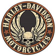 "HARLEY DAVIDSON-Flying Skull Button Embossed 14 "" Round- TIN SIGN-New!!"