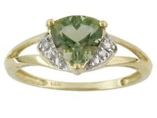 14kt YG 1.0ctw trillion green labradorite andesine & diamond accent ring, size 7