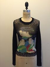 Kenzo Jeans Geisha Girl Japanese Design Face Sweater Black Blue Green Sz P/S
