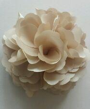 """Girls Women 3.4"""" Silk Rose Flower Hair Clip, Brooch, corsage BEIGE GOLD CARAMEL"""