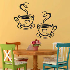 Trendy Coffee Cups Cafe Tea Wall Stickers Art Vinyl Decal Kitchen Home Pub Decor