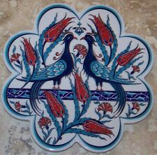 "7"" Flower Shaped Phoenix & Tulip Pattern Turkish Ceramic Hot Plate Trivet Tile"