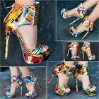 Ladies Magazine Print Heels Cuff Sandals Multi Colorful Stiletto Shoe Size RMD12