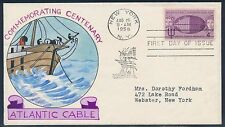 "#1112-18 ""ATLANTIC CABLE"" ON FDC HAND PAINTED WRIGHT CACHET BT879"