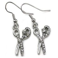 Beauty Salon Hair Stylist Scissors Dangle Earrings Silver Tone Rhinestone Charm
