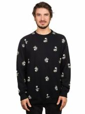 Vans Men's Disney Cheshire Cat Crew Neck Long Sleeve Sweat Shirt - Black (Large)