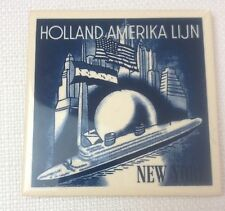 "Holland Amerika Lijn America Line Delft Blue Coaster Cork Back Tile 4"" Square"