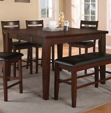 Poundex F2208 Counter Height Dining Table With Leaf In Antique Walnut