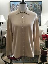 NWOT Valerie Stevens Beige 100% Cashmere Shirt Style Cardigan Sweater Size XL