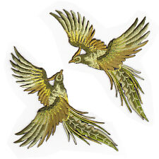 2 Pc Gold Phoenix Exotic Bird DIY Fabric Craft Embroidery Iron On Appliqué Patch
