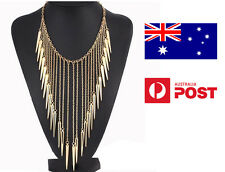 Trendy Maxi Necklace Gold Collar Chain Rivet Long Tassel Punk Edgy Spike Women