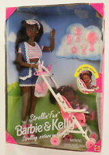 Mattel - Barbie Doll - 1995 Strollin Fun Barbie & Kelly (African American)*NM*