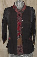 """100% COTTON JACKET FROM THAILAND COCONUT BUTTONS POCKETS 2 FABRICS   42""""BUST LAR"""