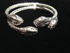 Pair Of Giant Snake Head Solid Handmade West Indian Sterling Silver Bangles
