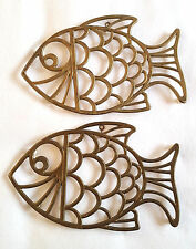 Brass Trivet Wall Decor Fish by Leonard Plastic Feet Hook for Hanging Set of 2