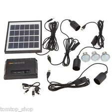 Solar Powered Panel LED Light Lamp USB Charger Home System Kit Outdoor Camping