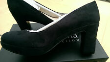 New Black suede leather heel office shoes, UK Size 4,EU 37