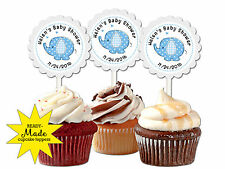 30 ct blue baby elephant personalized cupcake toppers baby shower favors decor