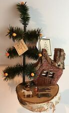 Joanne Hobbs Hand Made Goose Feather Christmas Tree and Farmhouse - 13 inches