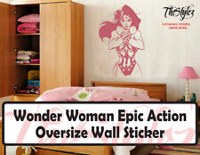 Wonder Woman Epic Action Silhouette Oversize Wall Sticker
