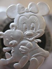 1-OZ .999 SILVER MICKEY& MINNI'S BABY GIRL 1ST TREASURE'S CHRISTMAS COIN + GOLD