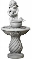 Cherub Water Fountain Angel Waterfall Garden Statue Outdoor Lawn Decor w/ Pump