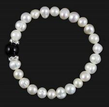 Ladies Real Freshwater Pearl Elasticated Bracelet with Jet Glass Bead & Crystals