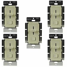 5 Pack 59302 Wall Dimmer Light Switch Dimmable LED/CFL 3 Way Single Pole Ivory