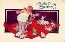A JOYFUL EASTER Gleeful girl and rabbits greet hatching chick