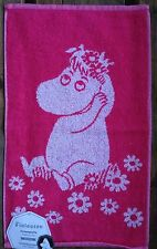 Moomin hand/gym/guest towel, 30x50cm, Finlayson, from Finland, pink white cotton
