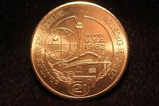 "Worlds Fair Seattle 1962 $1 Trading Coin ""America's Space Age Fair"" Excellent"