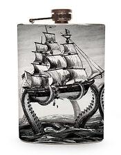 Kraken Flask 8oz Silver Metal Alcohol Whiskey Drinking Pirate Ship Octopus