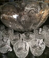 LARGE VINTAGE ANTIQUE EAPG GLASS PUNCH BOWL 12 CUPS & TRAY PARTY SET*