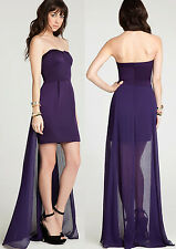 BCBGeneration Strapless Skirt Tail High Low Amethyst Cocktail Dress 6