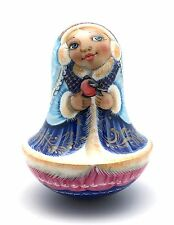 Snowmaiden Roly Poly Russian Hand Carved Hand Painted  no Nesting DOLL