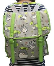 New My Neighbor TOTORO Gray Canvas Backpack w/ Green  Straps School work 60164