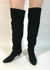 Vintage late1980's-90's Black suede leather OVER-THE-KNEE sz 7.5 high heel boots