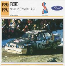 1990-1992 FORD Sierra RS Cosworth 4x4 Racing Classic Car Photo/Info Maxi Card