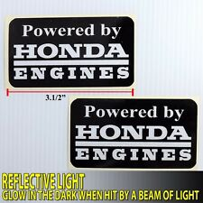"3.5""x2P POWERED BY HONDA ENGINES DECALS GLOW STICKER PRINT DIE CUT MOTOR SPORTS"